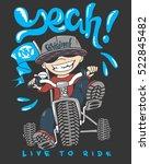 cool kid on bike  t shirt print | Shutterstock .eps vector #522845482