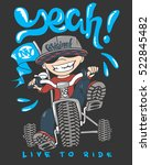Cool Kid On Bike  T Shirt Print