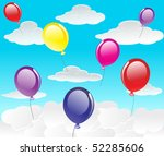 vector sky with clouds and... | Shutterstock .eps vector #52285606