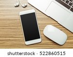 office table with  smartphone... | Shutterstock . vector #522860515
