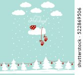 cute winter holiday background... | Shutterstock .eps vector #522869506