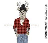 hipster deer dressed up in... | Shutterstock .eps vector #522869818