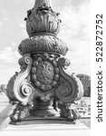 Small photo of PARIS, FRANCE, on JULY 10, 2016. Architectural details of a decor of Alexander III Bridge