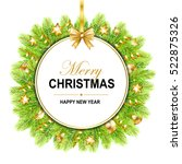 merry christmas frame with bow  ... | Shutterstock .eps vector #522875326