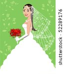A beautiful brunette woman on her wedding day. Wedding Gown 5. - stock vector