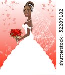 A beautiful black woman on her wedding day. Wedding Gown 4. - stock vector