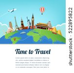 travel composition with famous...   Shutterstock .eps vector #522895822