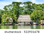 wooden houses on stilts with...   Shutterstock . vector #522931678
