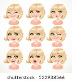 beautiful cartoon blond girl... | Shutterstock .eps vector #522938566