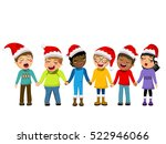 multicultural kids wearing xmas ... | Shutterstock .eps vector #522946066