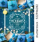 gift boxes and baubles on blue... | Shutterstock .eps vector #522946282