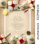 gift boxes and baubles on gold... | Shutterstock .eps vector #522948136