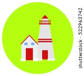 lighthouse icon in trendy flat...