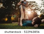 young man having a strain and... | Shutterstock . vector #522963856