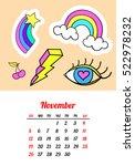 calendar 2017 in cartoon 80s...   Shutterstock .eps vector #522978232