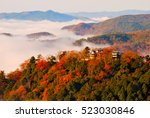 japanese castle and sea of... | Shutterstock . vector #523030846