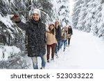 Man Lead Friends Group Snow...