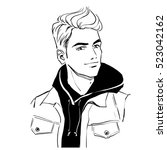 handsome young stylish man in... | Shutterstock .eps vector #523042162