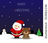 christmas card with santa claus ... | Shutterstock .eps vector #523061146