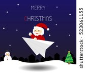 christmas card with santa claus ... | Shutterstock .eps vector #523061155
