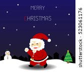 christmas card with santa claus ... | Shutterstock .eps vector #523061176