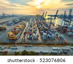aerial view of cargo ship ... | Shutterstock . vector #523076806