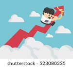 businessman on a red arrow... | Shutterstock .eps vector #523080235