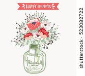 Happy Holidays and Happy New Year Flower bunch in the jar.Hand drawn of tulips,berries,eucalyptus leaves.