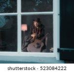 vintage 1970s guitarist leaning ... | Shutterstock . vector #523084222
