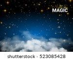 night sky magic cloud. holiday...   Shutterstock .eps vector #523085428