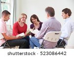 meeting of book reading group | Shutterstock . vector #523086442