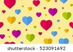 heart seamless pattern. flat...   Shutterstock .eps vector #523091692