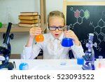 young girl making science... | Shutterstock . vector #523093522