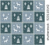 christmas seamless pattern.... | Shutterstock . vector #523110142