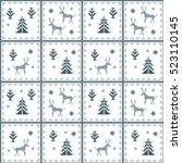 christmas seamless pattern.... | Shutterstock . vector #523110145