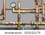 heating system's cooper pipes... | Shutterstock . vector #523122175