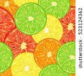 citrus seamless pattern... | Shutterstock .eps vector #523124362