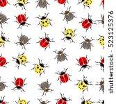 beetle ladybug seamless pattern ... | Shutterstock .eps vector #523125376
