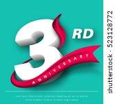 anniversary emblems 3... | Shutterstock .eps vector #523128772