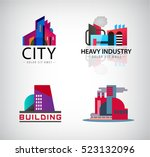 vector set of colorful building ... | Shutterstock .eps vector #523132096
