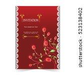invitation card  wedding card... | Shutterstock .eps vector #523138402