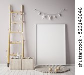 mock up poster frame in... | Shutterstock . vector #523143646