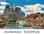 ships and boats moored at the... | Shutterstock . vector #523159126
