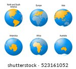 earth globes set. showing all...   Shutterstock .eps vector #523161052