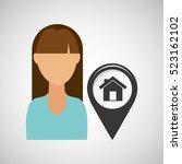 house pointer map girl design... | Shutterstock .eps vector #523162102