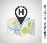 hotel map pin pointer design... | Shutterstock .eps vector #523163206