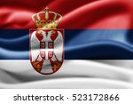 serbia flag of silk 3d... | Shutterstock . vector #523172866