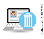 laptop social profile e wasted... | Shutterstock .eps vector #523174996