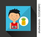 cartoon boy athlete with... | Shutterstock .eps vector #523185892