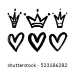Vector Set Of Hand Drawn Heart...